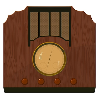 Illustration of an old  radio in  a wooden case.