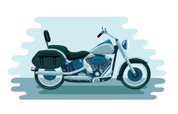 Illustration of old school american motorbike
