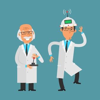 Иллюстрация, старый ученый управляет своим помощником с помощью джойстика, формат eps 10