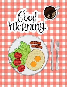 Illustration of omelet with sausages, tomato and coffee
