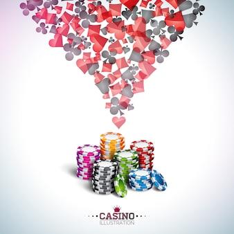 ポーカーカードとチップを持つカジノのテーマのイラスト