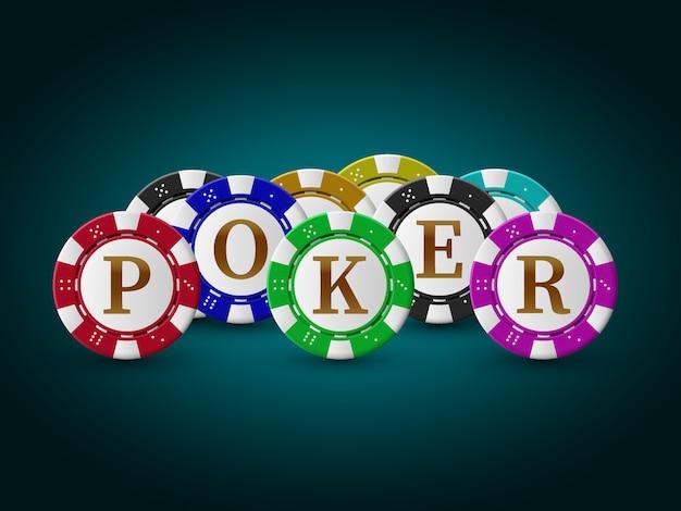 Иллюстрация на тему казино с блестящей текст и красочные фишки. дизайн азартных игр для приглашения или рекламного баннера
