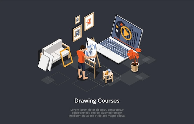 어두운 배경에 그림입니다. 벡터 구성, 만화 3d 스타일, 아이소메트릭 개체 및 문자. 미술 및 드로잉 코스 디자인, 온라인 교육, 원격 비디오 수업 회화 프로그램 개념