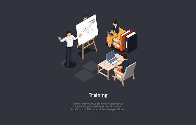 Иллюстрации на темном фоне с написанием и персонажами. композиция в стиле мультяшныйа 3d, изометрический векторный дизайн. профессиональное автономное обучение для работы, карьеры или образования. мужской репетитор и студенты.