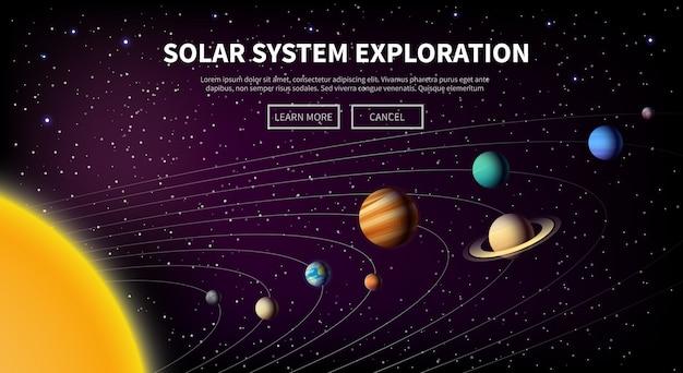 テーマのイラスト:天文学、宇宙飛行、宇宙探査、植民地化、宇宙技術。 webバナー。太陽系