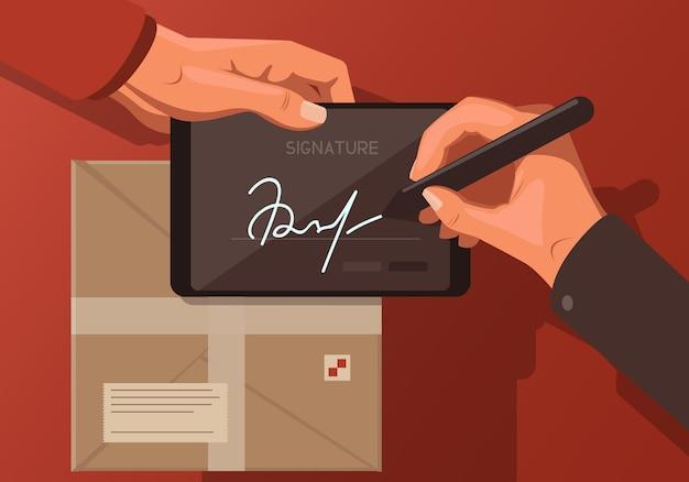 패키지와 함께 디지털 서명을 주제로 한 일러스트