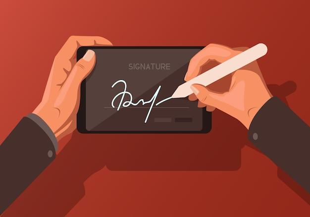 디지털 서명을 주제로 한 일러스트레이션