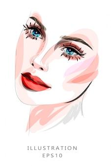 メイクと美容をテーマにしたイラスト。ファッショナブルなメイクを持つ若い女性の美しい顔。美容院、美容業界。