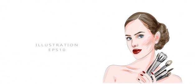 メイクと美容をテーマにしたイラスト。スタイリッシュなアートスケッチ。手描きの美しい目でグラマー若い女性の顔メイク。メイクでかわいい顔。