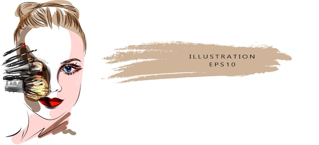 メイクと美容をテーマにしたイラスト。スタイリッシュなアートスケッチ。美しい目と手描きグラマー若い女性の顔メイク