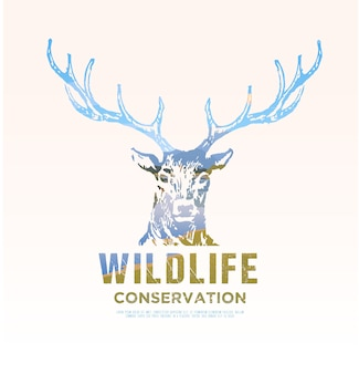 アメリカの野生動物、野生での生存、狩猟、キャンプ、旅行のテーマのイラスト。山の風景。鹿。