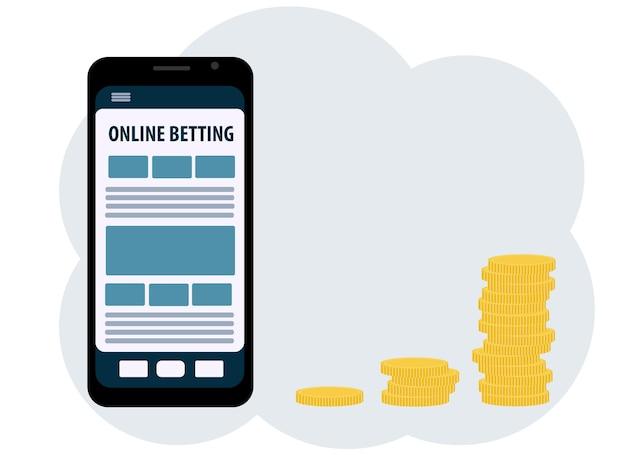 온라인 베팅으로 돈을 버는 주제에 대한 삽화. 휴대 전화, 앱 및 동전