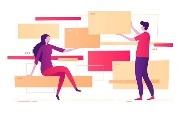 Иллюстрация на тему дизайна и разработки сайтов.