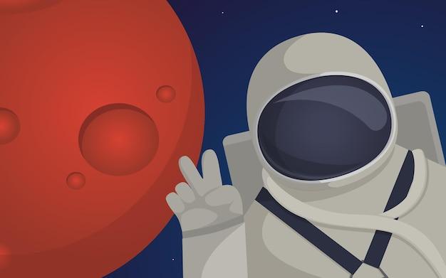 惑星火星ミッションの植民地化をテーマにしたイラスト