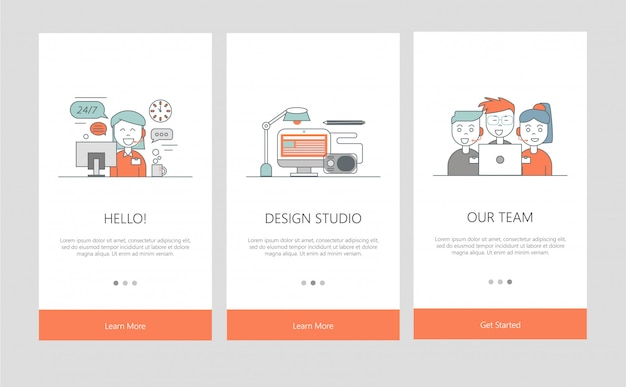 Illustration of onboarding app screens in line style.