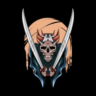 Illustration of oni demon with sword for tshirt design and print