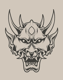 Illustration oni mask monochrome style