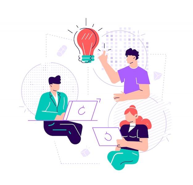 イラスト、職場でのオンラインアシスタント。ネットワークでのプロモーション。離れた場所にいるマネージャー、新しいアイデアソリューションの検索、社内での共同作業、ブレーンストーミング。フラットスタイルのデザイン