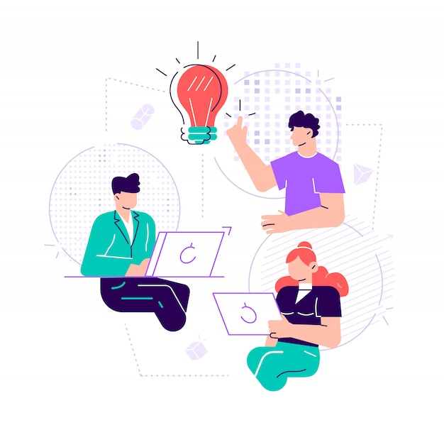 Illustration, online assistant at work. promotion in the network. manager at remote work, searching for new ideas solutions, working together in the company, brainstorming. flat style design