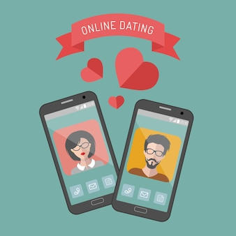 Illustration of online dating man and woman app icons in flat style.