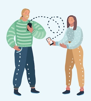 Illustration of online dating service, virtual communication and searching love in internet. male and female character+