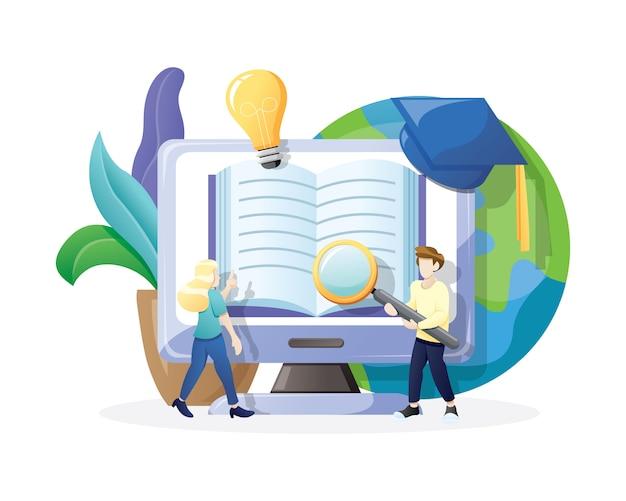 Illustration online education or e-learning concept