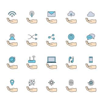 Illustration of online network icons set