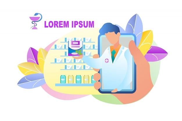 Illustration online ordering medication pharmacy