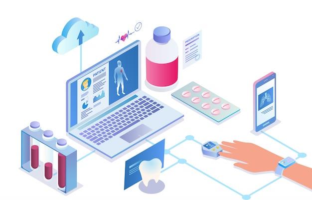 Illustration of online patient card application cartoon.