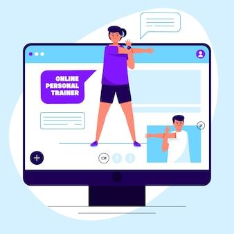 Illustrazione del personal trainer online
