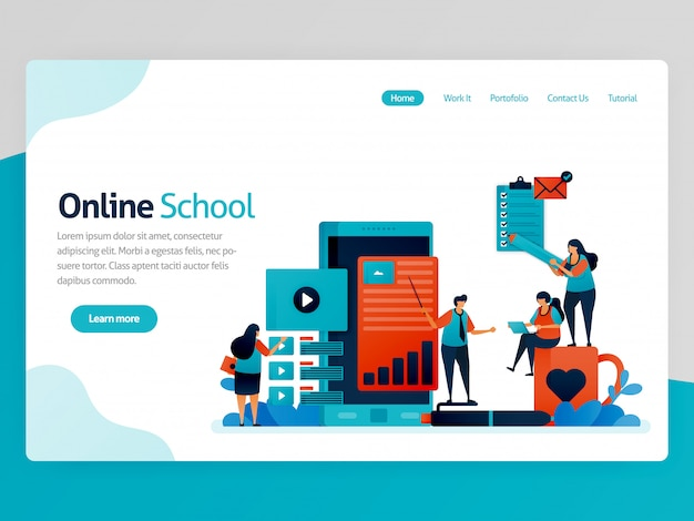 Illustration for online school landing page. mobile apps for education and learning. video tutorial, online classroom, webinar lesson, distance learning