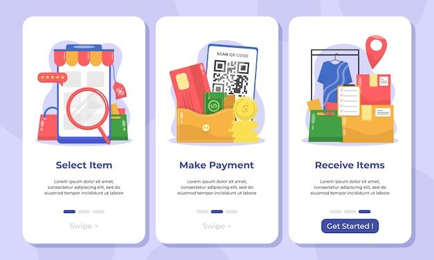 Illustration of online shop in mobile app onboarding screens