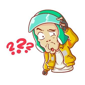 그림 온라인 택시 오토바이 운전사 오토바이 드라이브 ojek 혼란 손으로 그린 만화 색칠 스타일