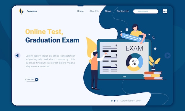 Illustration of online test for graduation exam landing page template