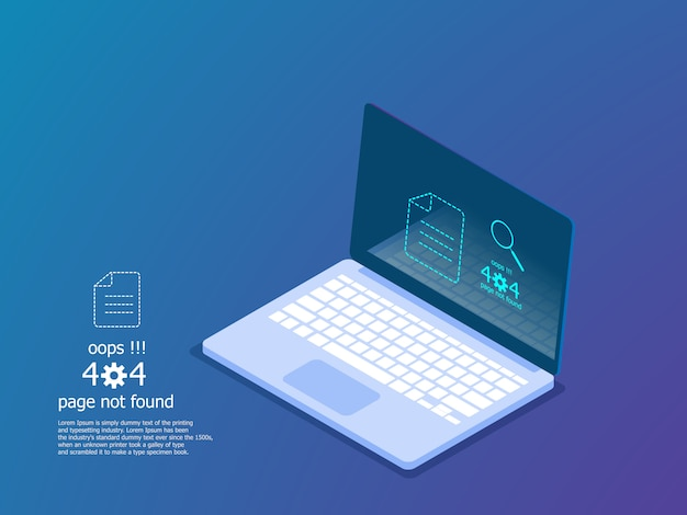 Illustration of oops 404 error page not found, error message vector isometric