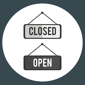 Illustration of open and close sign vector