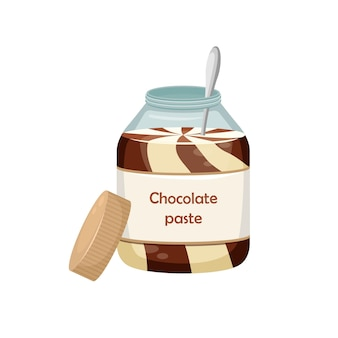 Illustration of an open jar of chocolate paste with a spoon inside