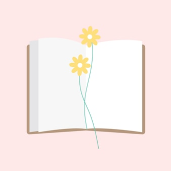 Illustration of an open notepad with flower