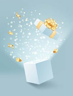 Illustration of opened gift box with golden bow and confetti