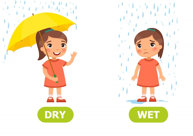Illustration of opposites dry and wet