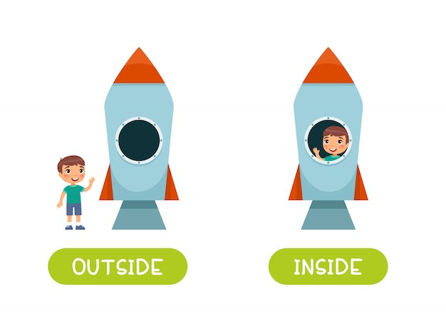 Illustration of opposites inside and outside.  a boy inside the rocket and a boy outside.
