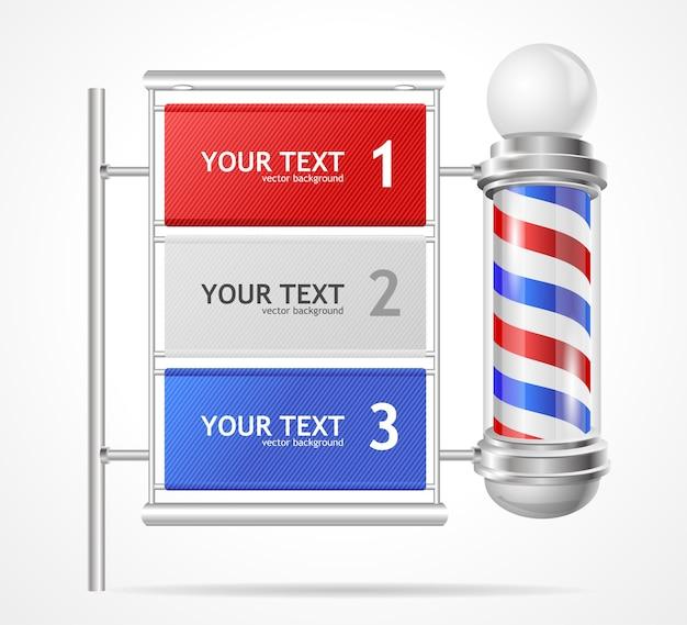 Illustration, option banner baber shop pole, number options.