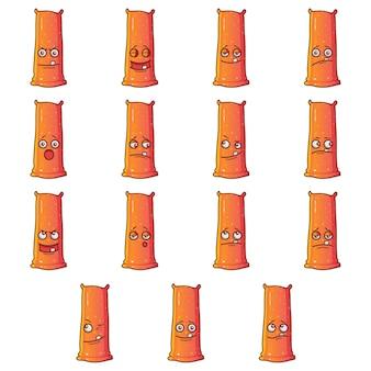 Illustration of orange monster set.