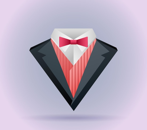 Illustration of origami  men's suit with a butterfly tie and log