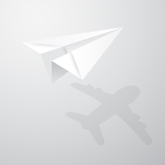 Illustration of origami paper airplane on white background.