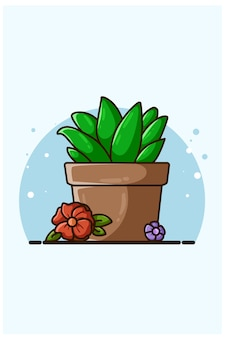 Illustration of ornamental plant and flowers