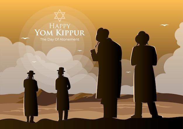 Illustration of orthodox jews perform a jewish prayer named tashlich a day ahead of yom kippur