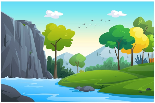 Illustration of an outdoor in the jungle and natural.