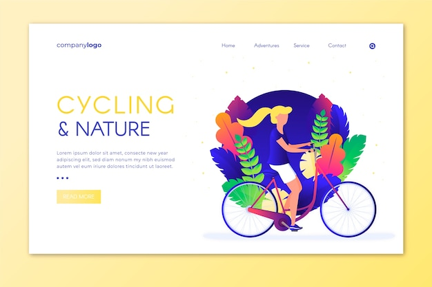 Illustration of outdoor sport on a landing page