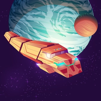 Illustration of outer space with cargo spaceship